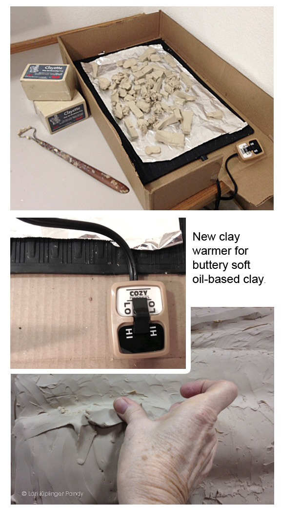 DIY clay warmer using a foot warmer from Amazon.