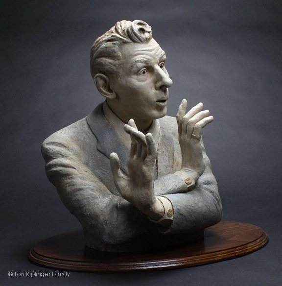 """King of Jesters"" ©Lori Kiplinger Pandy original ceramic sculpture portrait of Danny Kaye"