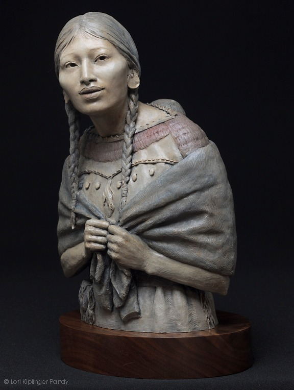 """Do you know me still?"" Bronze sculpture of Sacagawea and baby ©Lori Kiplinger Pandy"