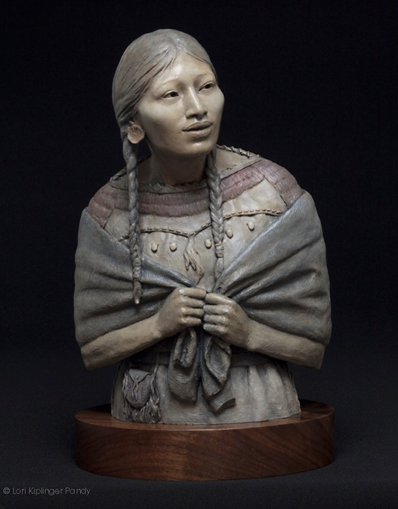 """Do you know me still?"" Forton sculpture of Sacagawea and baby ©Lori Kiplinger Pandy"