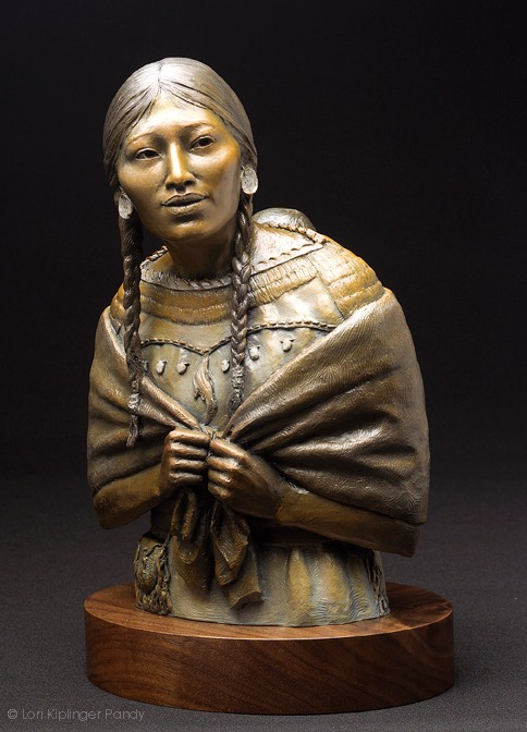 "Sacagawea ""Do you know me still?"" Bronze sculpture of Native American Sacagawea and baby ©Lori Kiplinger Pandy"