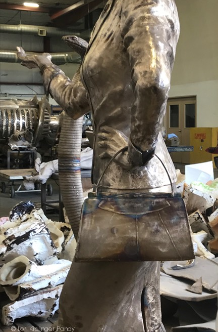 Fannie Mae Duncan life size sculpture in raw bronze before metal chasing ©Lori Kiplinger Pandy