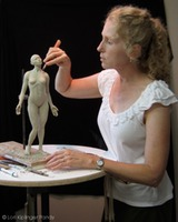 "Lori Kiplinger Pandy sculpting a 16"" figure in clay"