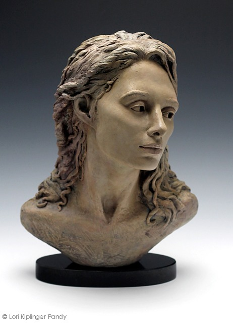 Original Ceramic Portrait sculpture of beautiful woman © Lori Kiplinger Pandy