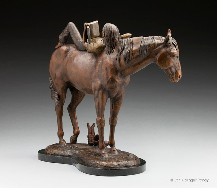 """Bareback Bookworm"" ©Lori Kiplinger Pandy - bronze sculpture of a barefoot girl reading her book on horseback - her cowboy boots on the ground."
