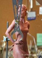 using proportional calipers while sculpting ©Lori Kiplinger Pandy