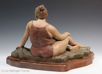 Beach Diva ©Lori Kiplinger Pandy. Plus-sized woman in bathing suit ceramic figure sculpture.