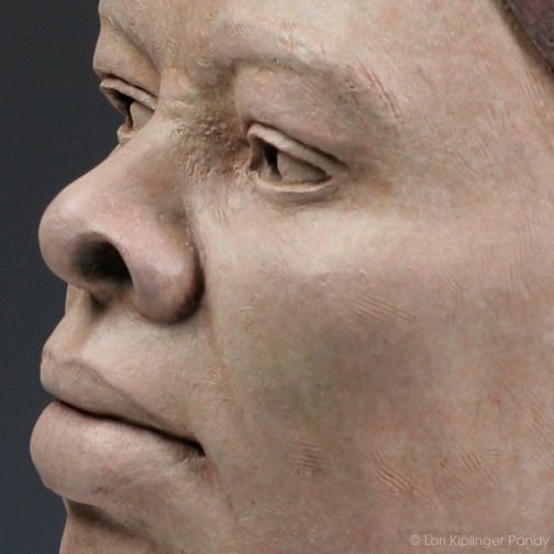 Detail: Triumph of Harriet Tubman ©Lori Kiplinger Pandy. Original stoneware ceramic portrait sculpture of Underground Conductor Harriet Tubman.