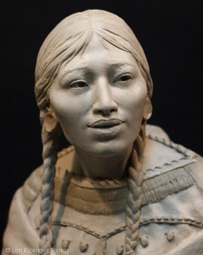 """Do you know me still?"" ©Lori Kiplinger Pandy sculpture of Sacagawea in clay"