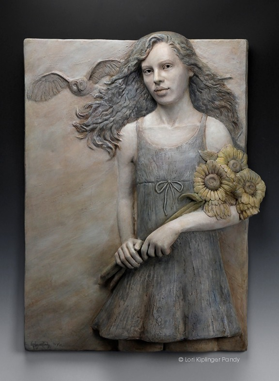 "Symbolism art. Bas relief wall sculpture features girl with owl and sunflowers. ""Setting Her Sights"" ©Lori KiplingerPandy"