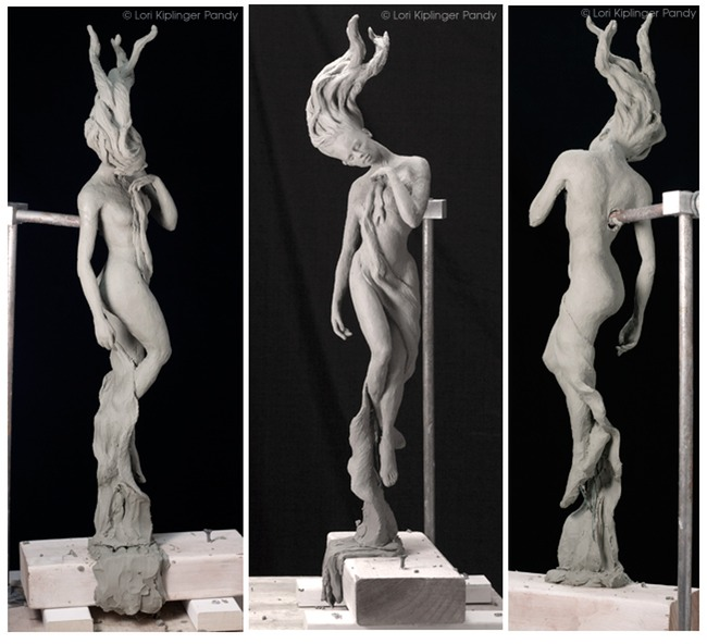 """State of Grace"" © Lori Kiplinger Pandy. Clay sculpture of woman rising. Spiritual art of ascending and floating woman."