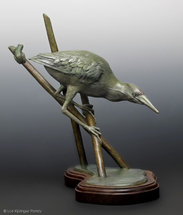 "Least Bittern Bronze Sculpture is a bird sculpture titled ""Two Possible Outcomes"" ©Lori Kiplinger Pandy"