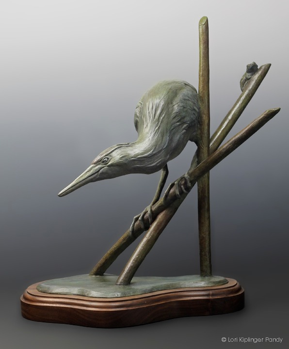 "Bird Sculpture cast in bronze titled ""Two Possible Outcomes"" ©Lori Kiplinger Pandy"